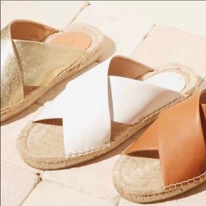 soludos white leather criss cross sandals